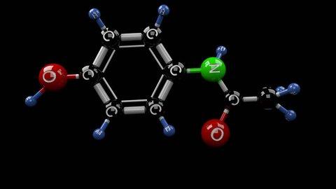 Acetaminophen molecule. Molecular structure of paracetamol pain reliever. Alpha channel.
