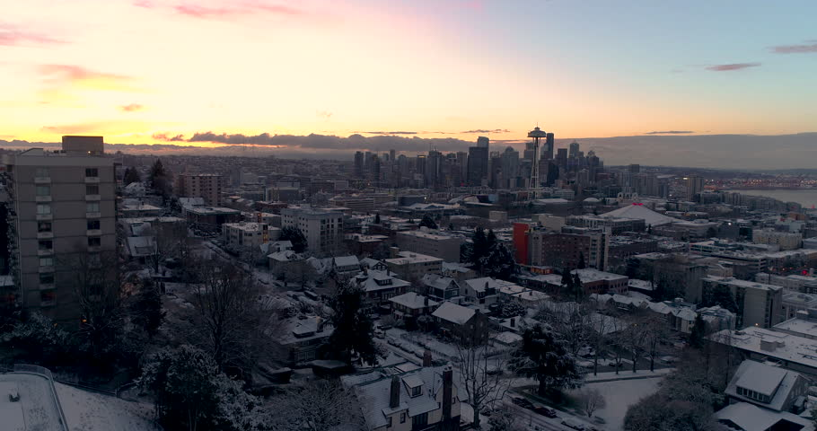 Seattle Winter Downtown Cityscape Sunrise Beautiful Skies Washington USA Morning Snowy Buildings View