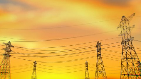 An impressive 3d rendering of three lines of high lattice electricity towers with long wires changing fast from a train window perspective. The sky is covered with a yellow palette at sunset