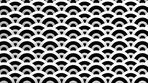 Black and white animated background featuring a seamless pattern with dynamic circle graphics. Perfect for masks,  overlays, mapping textures or as an elegant Art Deco background.