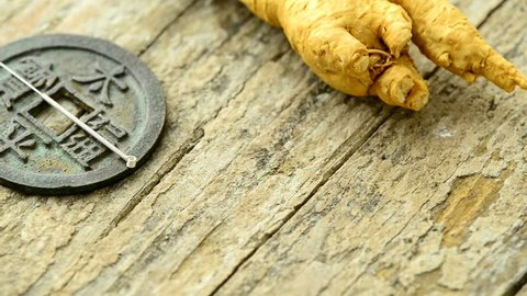Acupuncture needle and ginseng root on a turn table