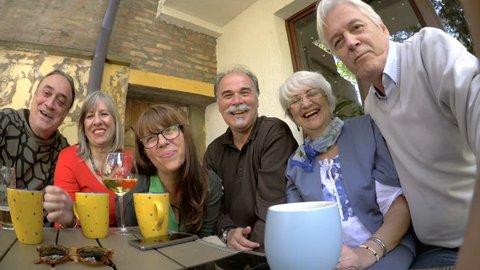 Group of senior people taking selfie