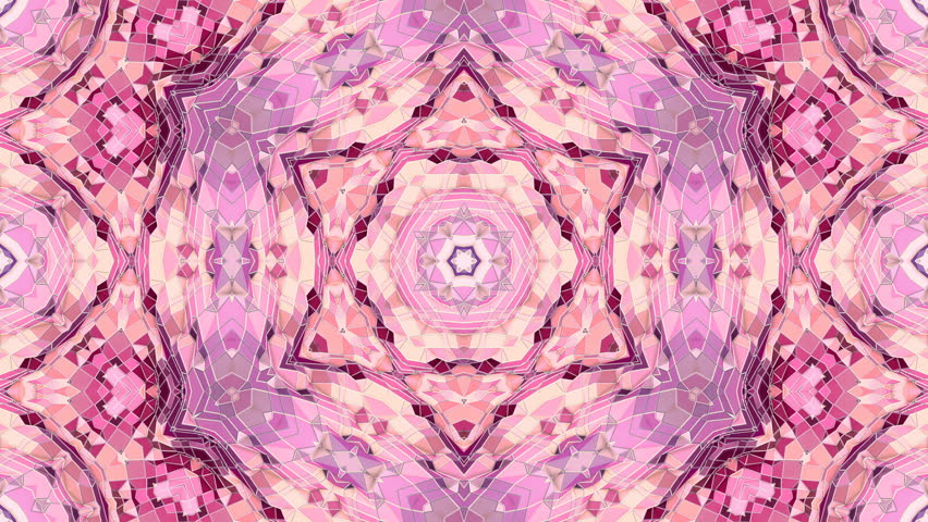 low poly geometric abstract background as a moving stained glass or kaleidoscope effect in 4k. Loop 3d animation, seamless footage in popular low poly style. Violet color V9