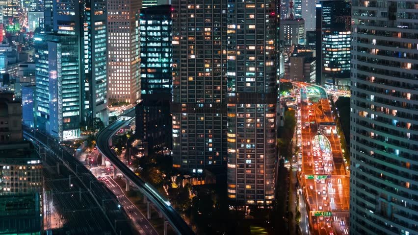 Time-lapse of Tokyo at night near Hamamatsuch? from above | Shutterstock HD Video #1008053020