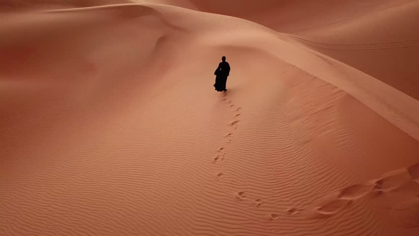 Young beautiful Caucasian woman walking in a traditional Emirati dress - abaya in Empty Quarter desert landscape. Abu Dhabi, UAE. | Shutterstock HD Video #1008055000