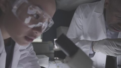 Research team in laboratory, forensics science, medical or students at university or college