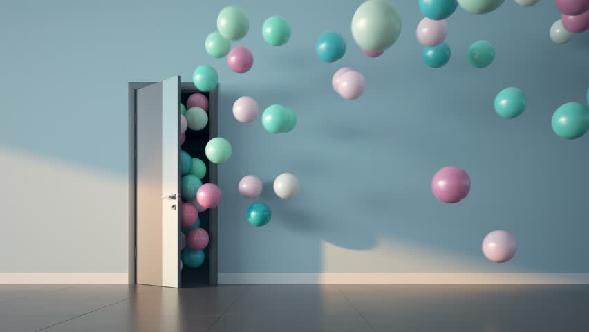 Ballons fly through open door. Slow motion 3D render. Luma matte and color ID pass.
