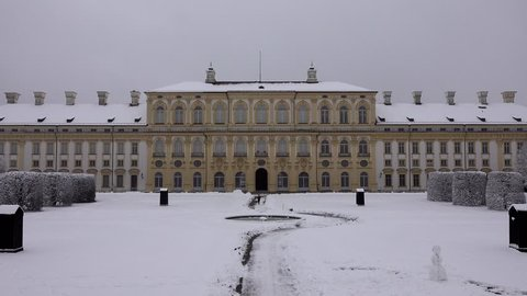 The public areas of castle Schleissheim in Munich, Germany in the snow