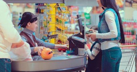 Foods on conveyor belt at the supermarket