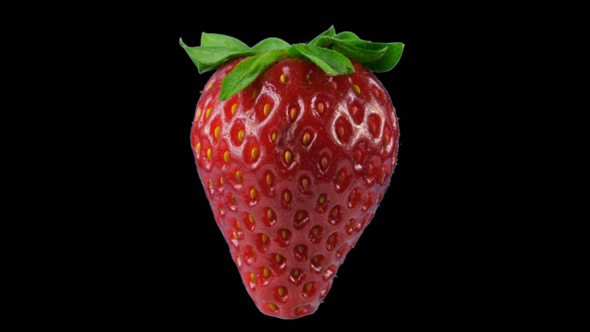 One big red ripe strawberry, transparent background, looped rotation