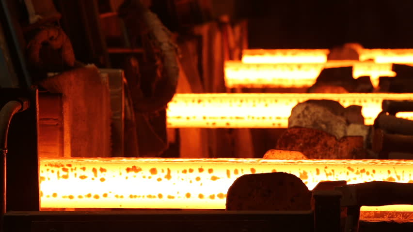 Steel Billets at Torch Cutting