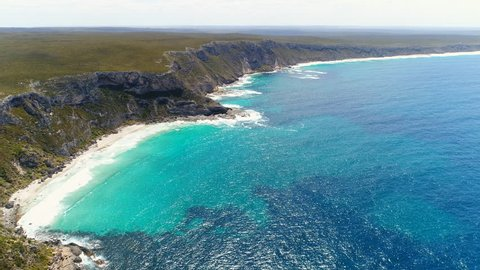 Aerial view of cliffs on Kangaroo Island, Weirs Cove - Flinders Chase National Park - south Australia from above, 4k UHD