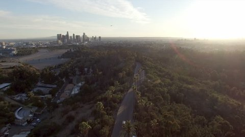 Pedestal down view over Elysian Park above Los Angeles skyline