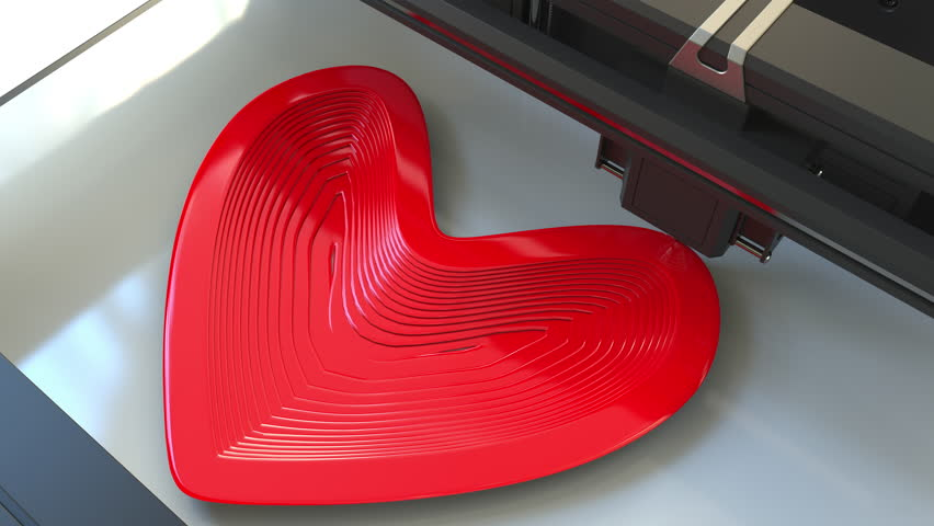 Printing plastic red heart shape with a 3D printer, time-lapse animation | Shutterstock HD Video #1008228310