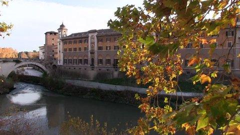 Rome Italy. Autumn. Tiber River. Fatebenefratelli Hospital and Fabricio Bridge