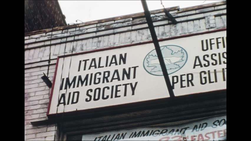 Toronto 1960s: Italian immigrant aid society sign, on 1960s in Toronto, Canada