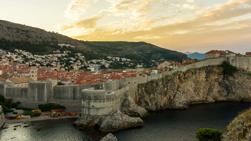 Time Lapse of Dubrovnik, Croatia - The historic wall of Dubrovnik Old Town in Croatia is the prominent travel destination for tourist visiting Croatia. Dubrovnik was listed as UNESCO World Heritage.
