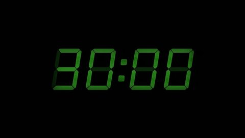 30 Second Digital Countdown Display Green 4K