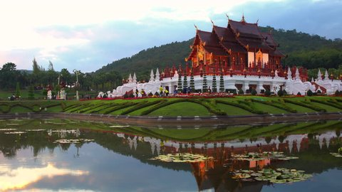 Traditional thai architecture in the Lanna style , Royal Pavilion (Ho Kum Luang) at Royal Flora Ex