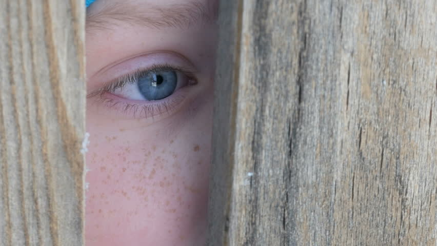 The frightened eye of a boy peeks into the door slot or crevice in the fence