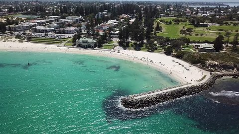 Aerial video of Cottesloe Beach in Western Australia, Perth.