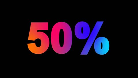 sale tag 50% multi-colored appear then disappear under the lightning strikes changing color. Alpha channel Premultiplied - Matted with color black