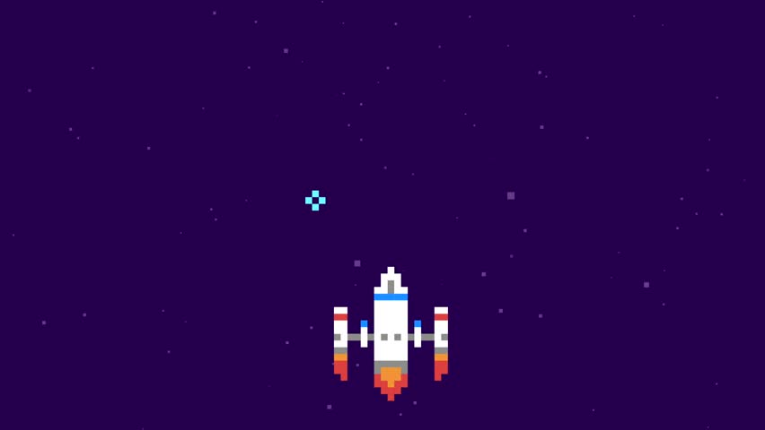 Retro Pixel Art Space Arcade Machine Video Game Animation Concept. Spaceship Colect Coins in Galaxy. Cartoon 4K Motion Design Footage.