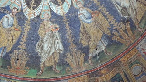 RAVENNA, ITALY - FEBRUARY 25, 2018: In 2017 more than 3 million tourists visited the art cities of Emilia Romagna to enjoy UNESCO attractions like the mosaics of the Neonian Baptistery in Ravenna