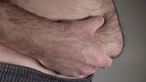 Fat belly of overweight man, 4k 2160p video footage