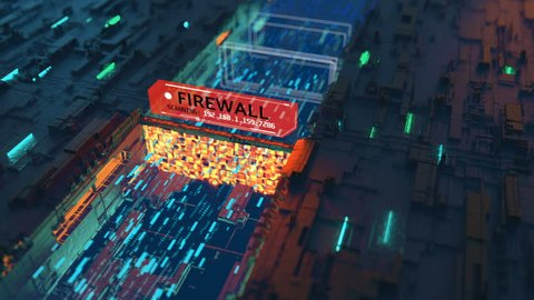 Firewall scanning internet packets for viruses, anti-hacking protection.  Firewall protecting computer from viruses