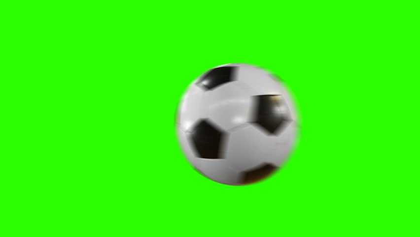 Set of 4 Videos. Beautiful Soccer Ball Hits the Camera in Slow Motion on Green Screen. Football 3d Animations of Flying Ball. 4k Ultra HD 3840x2160.