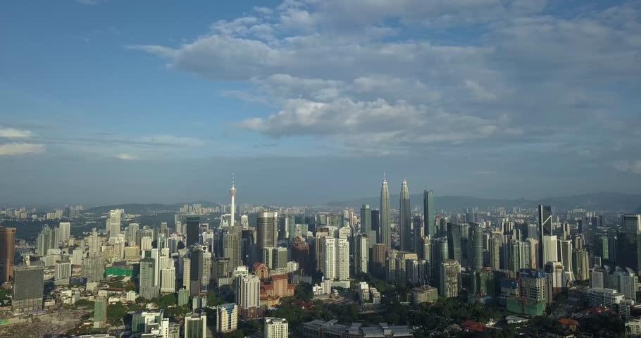 Kuala Lumpur, Malaysia - 10/3/2018 : Aerial view of Kuala Lumpur in the morning with beautiful cloudy sky | Shutterstock HD Video #1008494950
