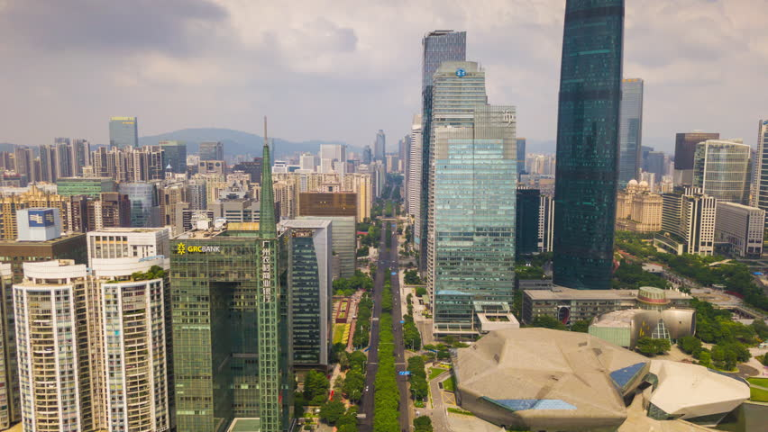 GUANGZHOU, CHINA - SEPTEMBER 29 2017: sunny day guangzhou new town opera house ifc building square aerial panorama 4k timelapse circa september 29 2017 guangzhou, china.