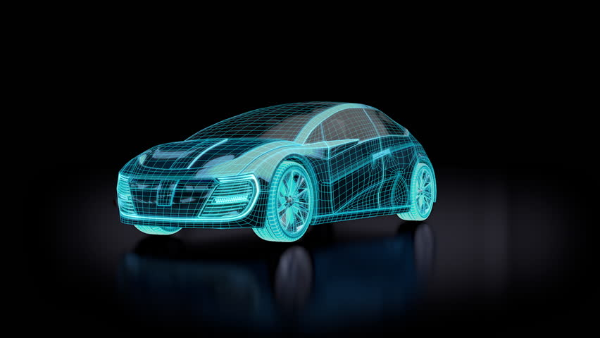 Animation of blue futuristic electric car blueprint. Concept car design. 3d render. The clip is loopable