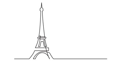Animation of continuous line drawing of Paris Eiffel tower