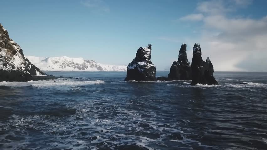Iceland Black Sand Beach Aerial View Showing Basalt Rock Formations Trolls Toes 1