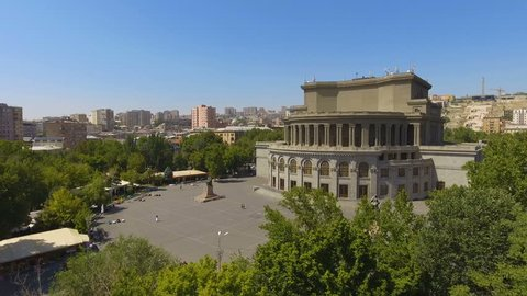 Beautiful Opera house in Yerevan town, architecture in Armenia, aerial view