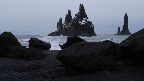 Iceland Moving Through Cave To Reveal Black Sand Beach And Basalt Rock Formations Troll Toes 1