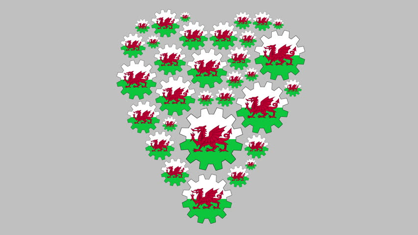 Gears with the welsh flag shaping heart