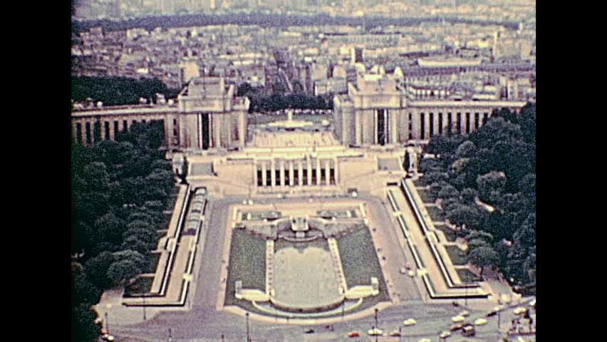 Palais de Chaillot palace in the 70s with Jardins du Trocadero from Paris Eiffel Tower. Aerial view panorama of Paris. Historic archival footage from 1976 in France.