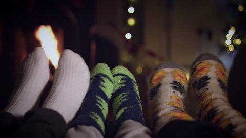 4k Dancing Feet In Woollen Socks By The Cozy Christmas Fireplace