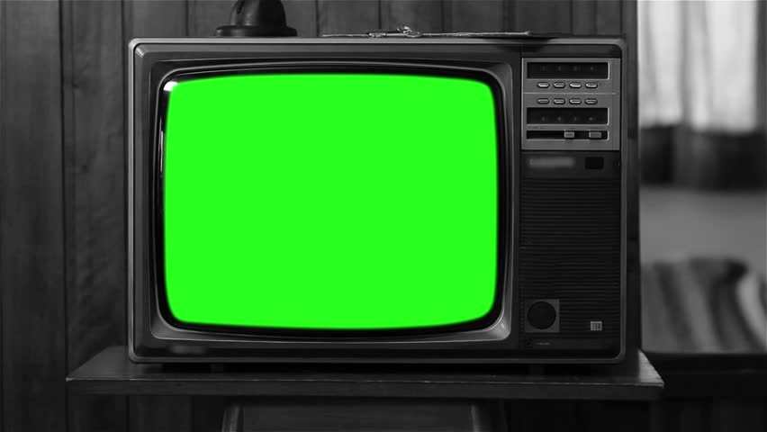 80s Television with Green Screen. Black and White. Zoom In. Slow.  | Shutterstock HD Video #1008696190