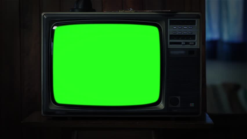 Old 80s Television Green Screen. Night Watch. Zoom In.  | Shutterstock HD Video #1008696520
