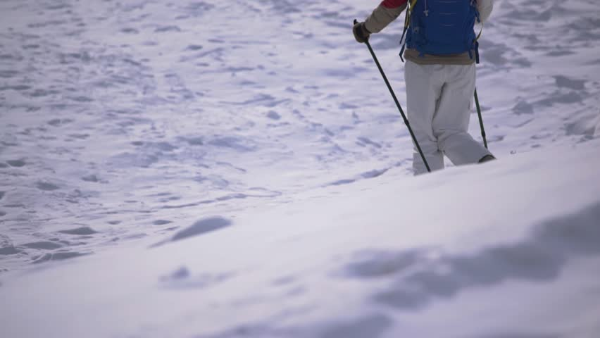 Foot feet steeps. hiking walking. slow motion. snow winter landscape. recreation activity. holiday vacation tourism. people persons. outdoors sports. | Shutterstock HD Video #1008711100