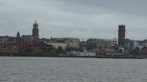 The waterfront skyline of Birkenhead opposite the city of Liverpool on the River Mersey.