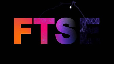 World stock index FTSE multi-colored appear then disappear under the lightning strikes changing color. Alpha channel Premultiplied - Matted with color black