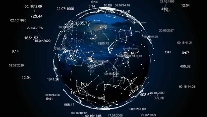 Abstract globe with plexus. Earth is shrouded in digital technologies | Shutterstock HD Video #1008778430