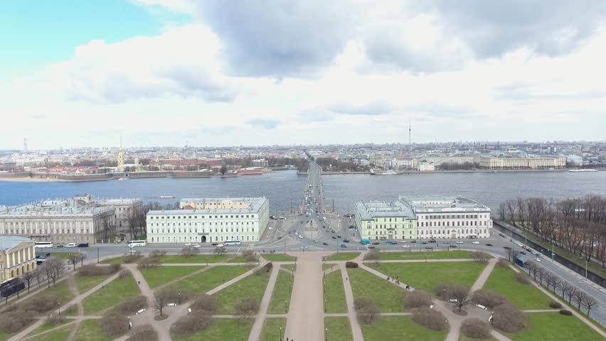 Aerial cinematic view of st. Petersburg city. Neva river panorama. Trinity Bridge in St. Petersburg, Russia. Quadcopter drone unique high altitude flight over city. 4K footage. | Shutterstock HD Video #1008787850