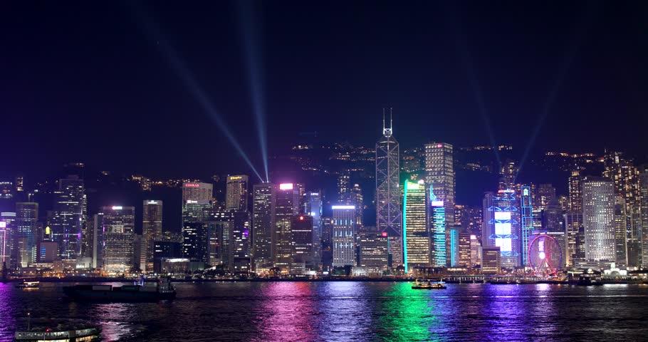Victoria Harbor, Hong Kong 09 March 2018:- A Symphony of Lights, Hong Kong light show