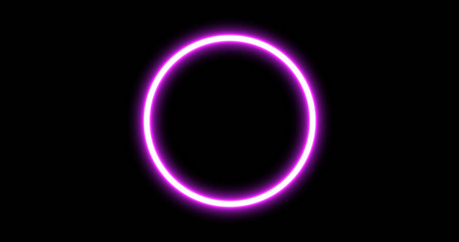 Abstract Neon Background. Glowing Circle Frame. Power Energy. LED Pink, Blue, Purple Colors. Flicker Neon Ellipse. Loop Motion Isolated with Alpha Channel. Logo Placeholder for Intro, Promo, Opener.